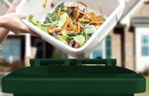 The Organics Cart is designed to capture food waste securely.
